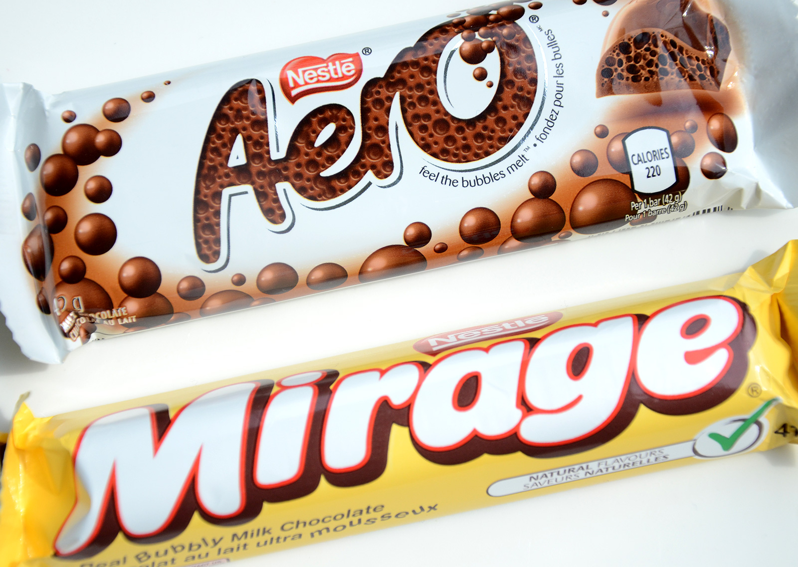 Aero and Mirage chocolate bars