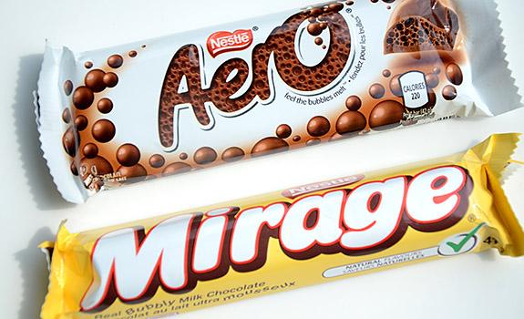 Aero vs. Mirage chocolate bars